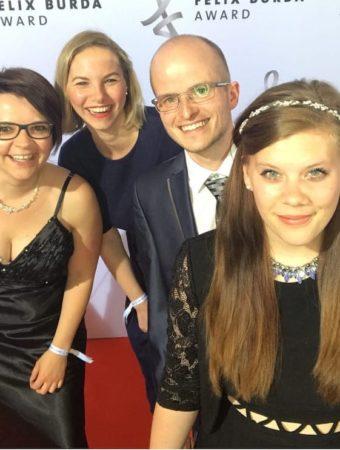 Sabrina, Kira, Benni und Maxi im Mai 2018 beim Felix-Burda-Award